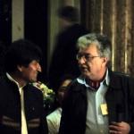 Evo Morales mit Leo Gabriel in der Aula der Universität für Bildende Kunst