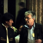 Evo Morales mit Leo Gabriel